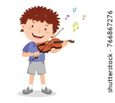 boy playing violin | Shutterstock .eps vector #766867276