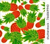 fruits pineapple seamless...   Shutterstock .eps vector #766869940