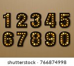 bulb light font on wood pattern ... | Shutterstock .eps vector #766874998