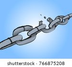 chain breaking. burst chain on... | Shutterstock .eps vector #766875208
