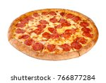 Small photo of Pizza isolated on white background