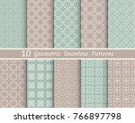 set of seamless line patterns.... | Shutterstock .eps vector #766897798