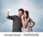 a young couple in love and... | Shutterstock . vector #766902658