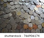 a lot of thailand baht coins... | Shutterstock . vector #766906174