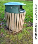 trash bin made of wood and... | Shutterstock . vector #766906510