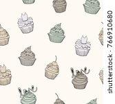 vector line seamless pattern.... | Shutterstock .eps vector #766910680