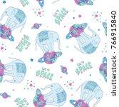 space elephant seamless pattern ... | Shutterstock .eps vector #766915840