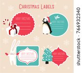 christmas labels and decoration | Shutterstock .eps vector #766932340