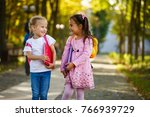 two little kids going to school ... | Shutterstock . vector #766939729