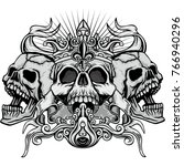 gothic coat of arms with skull  ... | Shutterstock .eps vector #766940296