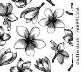 frangipani flower seamless...   Shutterstock .eps vector #766941556