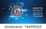 crypto currency bitcoin on blue ... | Shutterstock .eps vector #766949323