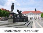 Lindwurmbrunnen (Lindworm Fountain) in Klagenfurt, Austria