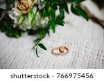 wedding bouquet and ring detail ... | Shutterstock . vector #766975456