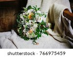 wedding bouquet and ring detail ... | Shutterstock . vector #766975459