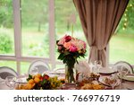 banquet hall or other function... | Shutterstock . vector #766976719