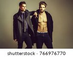 handsome young bearded men... | Shutterstock . vector #766976770
