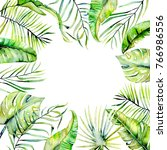 watercolor tropical palm leaves ... | Shutterstock . vector #766986556