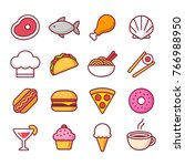 restaurant food bright cartoon... | Shutterstock . vector #766988950