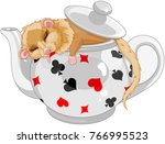 cute dormouse sleeping in a... | Shutterstock .eps vector #766995523