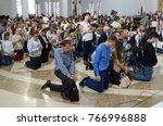 crowd of parishioners kneeling...   Shutterstock . vector #766996888
