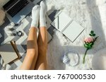 beautiful woman working on the... | Shutterstock . vector #767000530