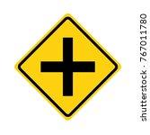 crossroads sign on white... | Shutterstock .eps vector #767011780