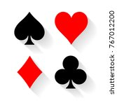 poker card suits   hearts ... | Shutterstock .eps vector #767012200