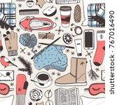 hand drawn fashion illustration.... | Shutterstock .eps vector #767016490