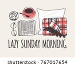hand drawn morning fashion... | Shutterstock .eps vector #767017654
