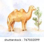 little camel eating little bush ... | Shutterstock . vector #767032099