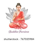 hand drawn watercolor buddha... | Shutterstock . vector #767035984