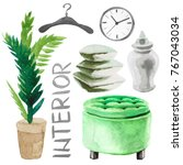 watercolor illustration set of...   Shutterstock . vector #767043034