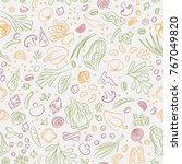 veggie seamless pattern with... | Shutterstock . vector #767049820