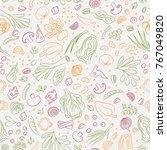 veggie seamless pattern with... | Shutterstock . vector #767049820
