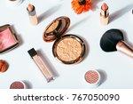 flat lay cosmetics makeup... | Shutterstock . vector #767050090