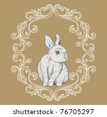 Victorian Style Card With Bunny