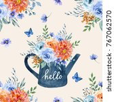 watercolor floral seamless... | Shutterstock . vector #767062570