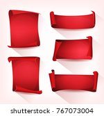 red circus parchment scroll set ... | Shutterstock .eps vector #767073004