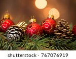 christmas decoration background | Shutterstock . vector #767076919