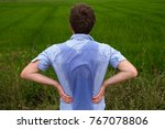 man with hyperhidrosis sweating ...   Shutterstock . vector #767078806