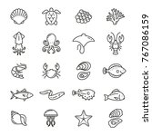 sea food related icons  thin...