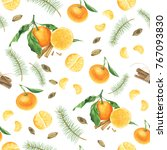 pattern with tangerine  spices... | Shutterstock . vector #767093830