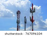 communication tower and blue... | Shutterstock . vector #767096104