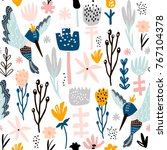 seamless pattern with colibri...   Shutterstock .eps vector #767104378