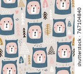 seamless pattern with cute bear ... | Shutterstock .eps vector #767104840