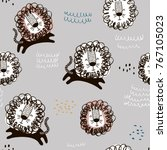 childish seamless pattern with... | Shutterstock .eps vector #767105023