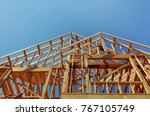 interior framing of a new house ... | Shutterstock . vector #767105749