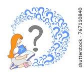happy girl reading book alone... | Shutterstock .eps vector #767110840