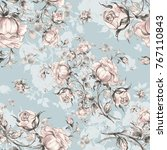 seamless pattern of vintage... | Shutterstock . vector #767110843